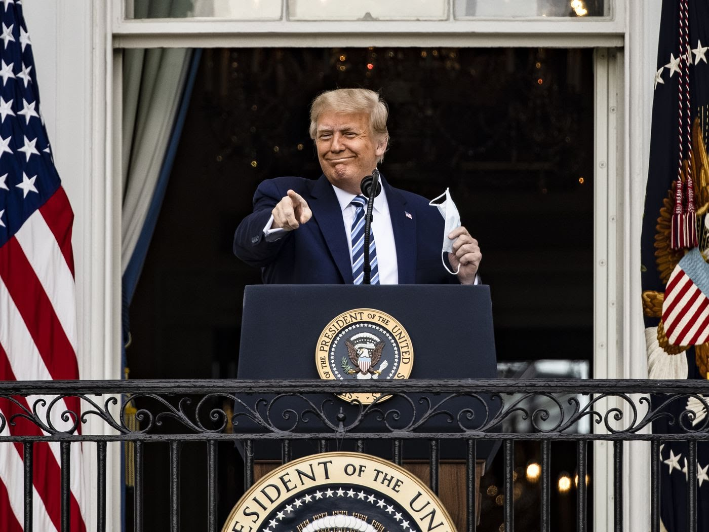 President Donald Trump addresses a rally on the South Lawn