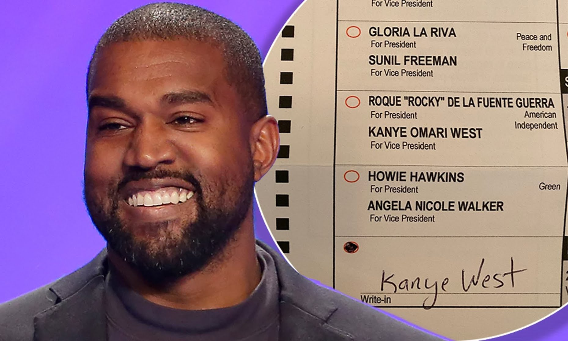 American rapper and billionaire Kanye West shows the ballot with his name on it.