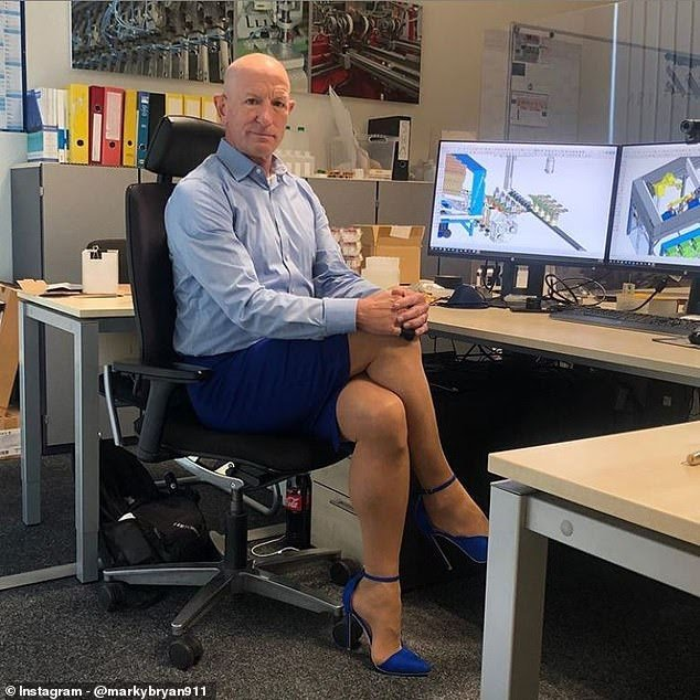 American Mark Bryan, 61, lives in Germany and wears skirts and heels to work