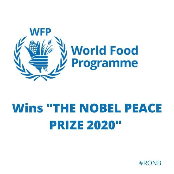 The World Food Programme (WFP) has been awarded with The 2020 Nobel Peace Prize.