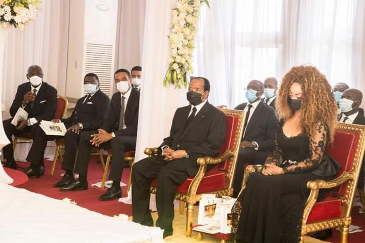Paul Biya and wife Chantal at the removal of his late sisters corpse