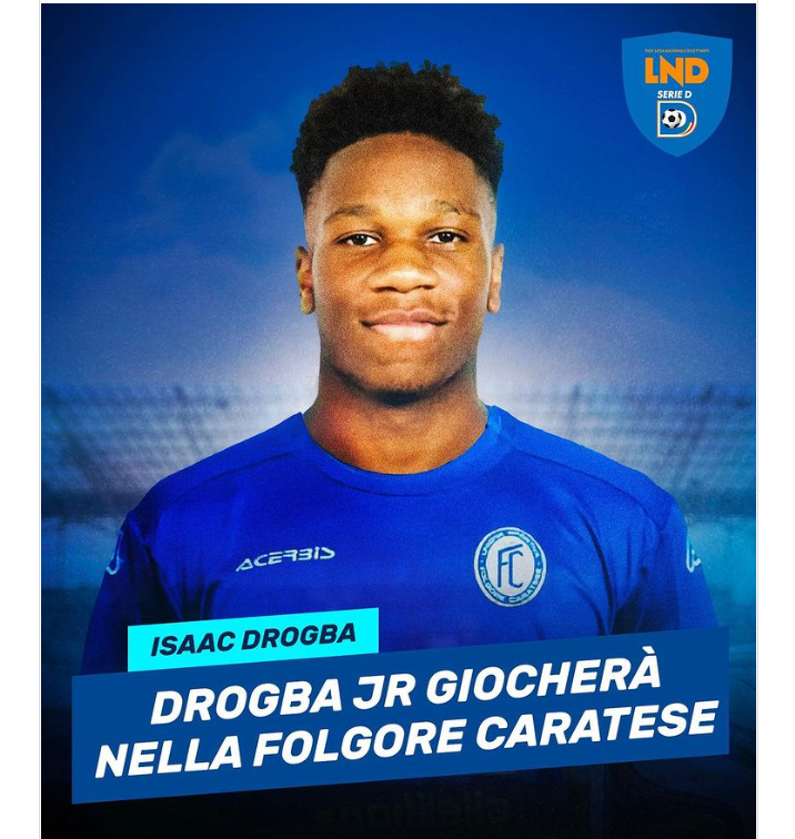 Isaac Drogba, son of Didier, signs with Italian lower-tier side Folgore Caratese