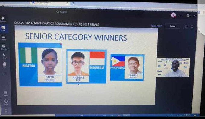 15-Year-Old Nigerian Girl Wins Global Open Mathematics Competition
