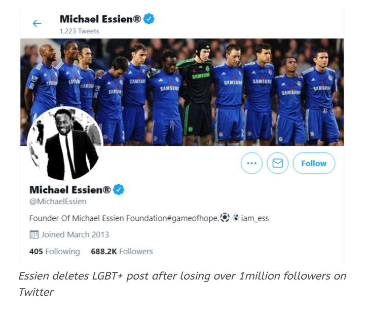 Michael Essien loses over 1million followers on twitter