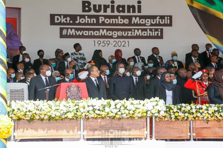 Top African Leaders attend Magufuli's state funeral in Dodoma, Tanzania.