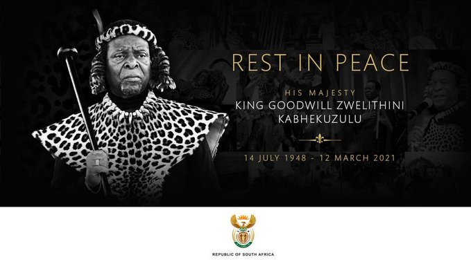 Memorial service for Zulu King Goodwill Zwelithini