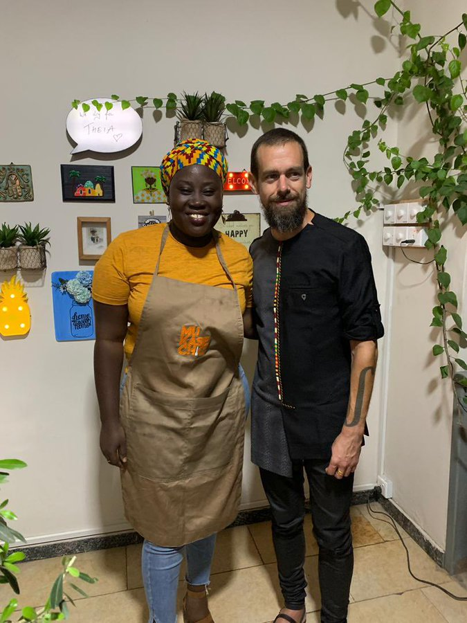 Twitter's Jack Dorsey spotted with the Mukase chic in Accra Ghana