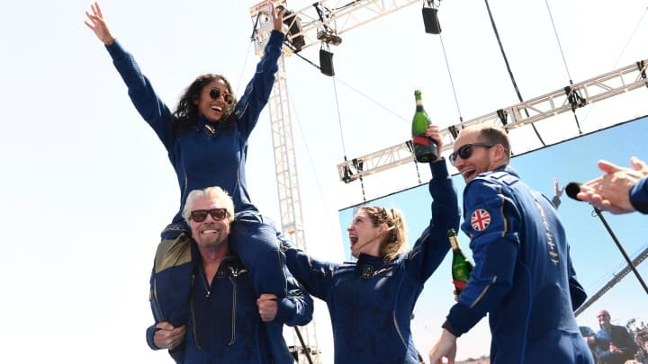 Richard Branson and his Virgin Galactic crew are safely back from space