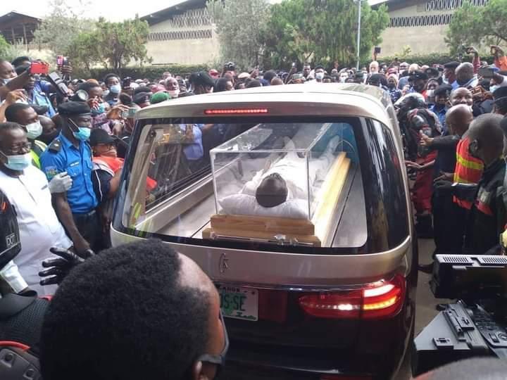 TB Joshua lies inside transparent glass casket