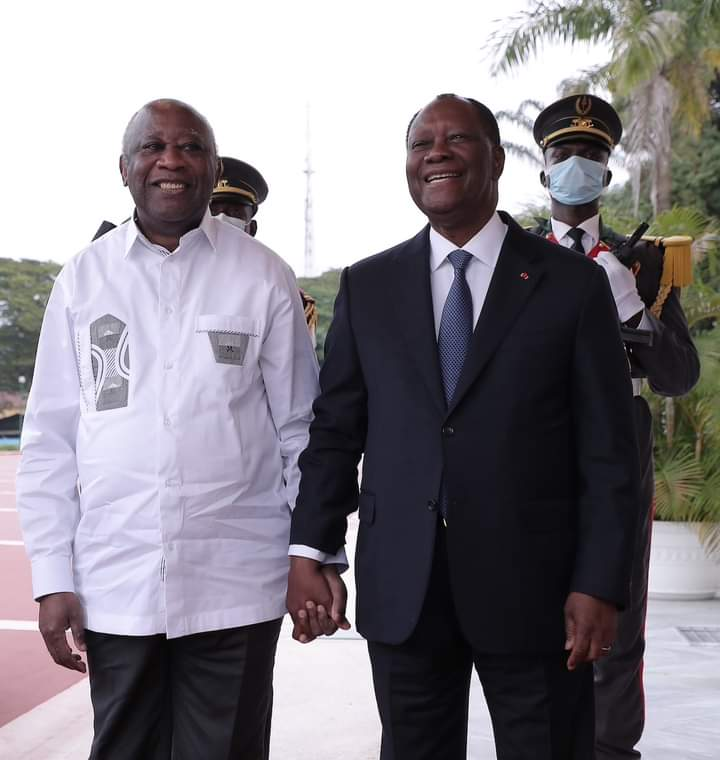 Smiles and hugs as Ivory Coast President Ouattara meets former president Laurent Gbagbo