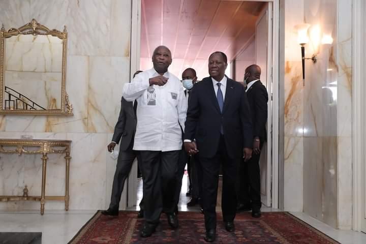 President Ouattara meets former president Laurent Gbagbo