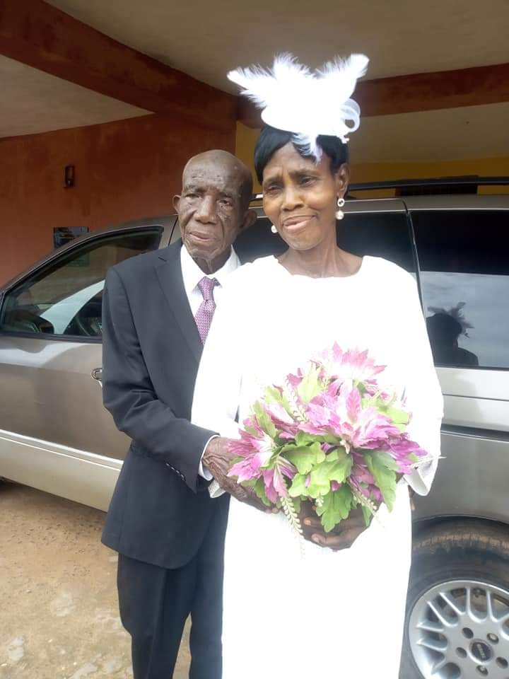 A 99-year-old Nigerian man, takes his 86-year-old partner to the altar.